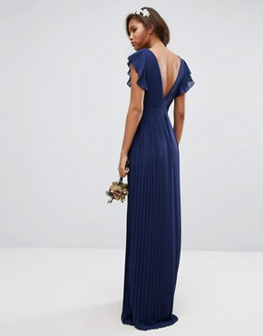 photo V-Front Maxi Dress with Frill Sleeve by TFNC Tall WEDDING, color Navy - Image 2