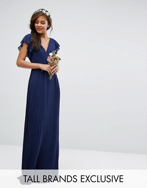 photo V-Front Maxi Dress with Frill Sleeve by TFNC Tall WEDDING, color Navy - Image 1
