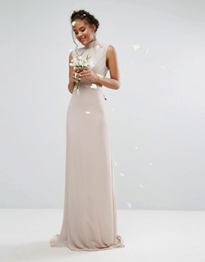 photo High Neck Maxi Dress with Bow Back by TFNC Tall WEDDING, color Mink - Image 2