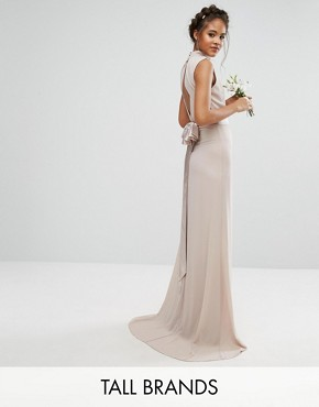 photo High Neck Maxi Dress with Bow Back by TFNC Tall WEDDING, color Mink - Image 1