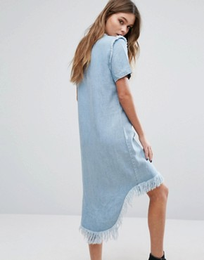photo Raw Edge Denim Dress with High Low Hem by Only, color Light Blue Denim - Image 2