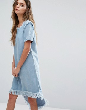 photo Raw Edge Denim Dress with High Low Hem by Only, color Light Blue Denim - Image 1
