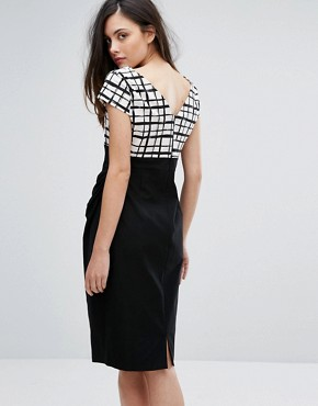 photo Grid Print Pencil Dress with Contrast Skirt by Vesper, color Black White Check - Image 2