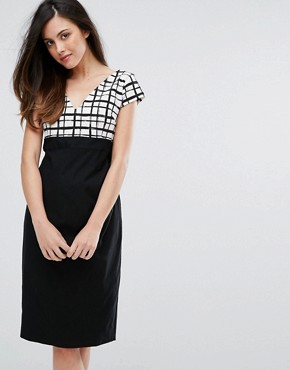 photo Grid Print Pencil Dress with Contrast Skirt by Vesper, color Black White Check - Image 1