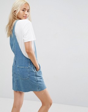 photo Denim Dungaree Dress in Midwash Blue by ASOS, color Blue - Image 2