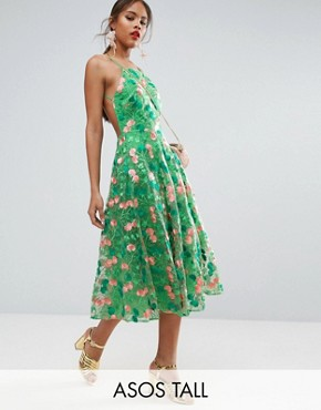 photo Floral Embroidered Backless Pinny Midi Prom Dress by ASOS TALL SALON, color Green - Image 1