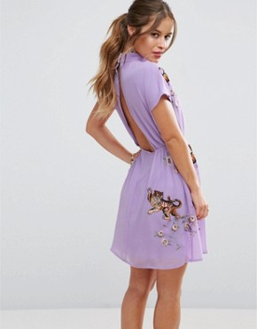 photo Open Back Tea Dress with Tiger Embroidery by ASOS PETITE PREMIUM, color Lilac - Image 2