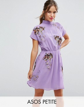 photo Open Back Tea Dress with Tiger Embroidery by ASOS PETITE PREMIUM, color Lilac - Image 1