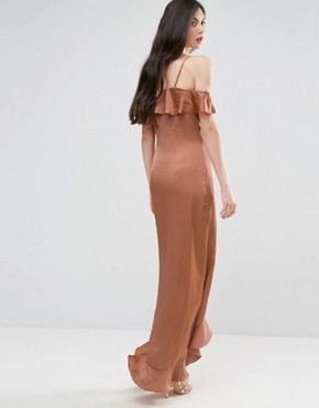 photo Fielle Ruffle Off Shoulder Cami Strap Maxi Dress by Y.A.S Studio Tall, color Mocha Mousse - Image 2