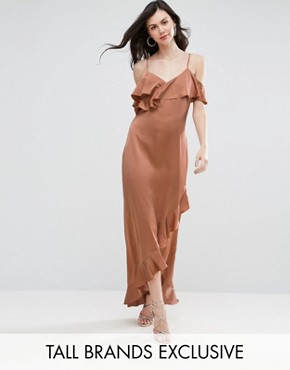 photo Fielle Ruffle Off Shoulder Cami Strap Maxi Dress by Y.A.S Studio Tall, color Mocha Mousse - Image 1