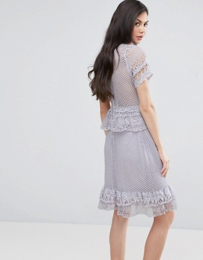 photo Lace Ruffle Midi Dress by Y.A.S Studio Tall, color Purple - Image 2