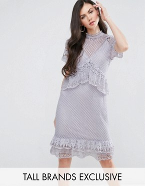 photo Lace Ruffle Midi Dress by Y.A.S Studio Tall, color Purple - Image 1
