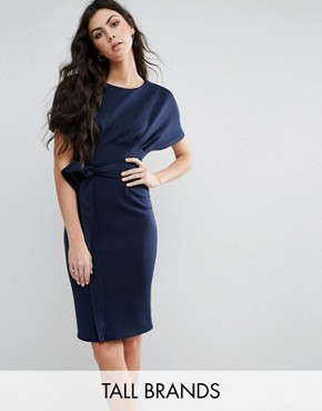 photo Pencil Dress with Tie Waist by City Goddess Tall, color Navy - Image 1