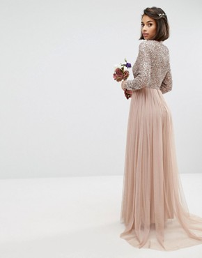 photo Long Sleeve Sequin Top Maxi Tulle Dress by Maya Petite, color Mink - Image 2