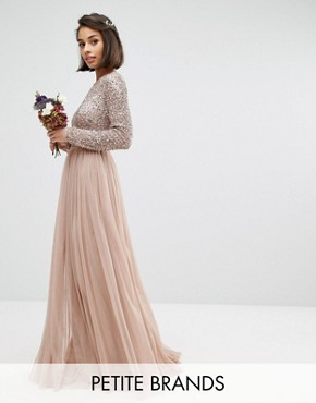 photo Long Sleeve Sequin Top Maxi Tulle Dress by Maya Petite, color Mink - Image 1