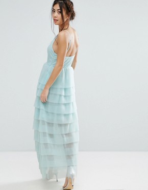 photo Cami Maxi Dress with Ruffle Pleated Skirt by True Decadence Petite, color Mint - Image 2