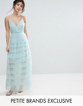photo Cami Maxi Dress with Ruffle Pleated Skirt by True Decadence Petite, color Mint - Image 1