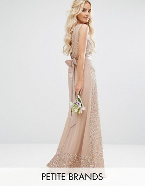 photo Embellished Maxi Dress with Bow Back by Maya Petite, color Mink - Image 1