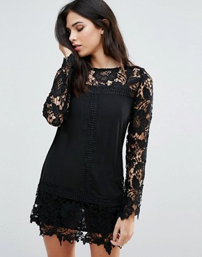 photo Lace Long Sleeve Shift Dress by Zibi London, color Black - Image 1