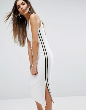 photo Black Label Trk Microterry Tank Dress with Racer Stripe by Juicy Couture, color White - Image 1