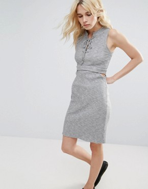 photo Freija Rib Knit Cut Out Dress by Greylin, color Heather Grey - Image 1