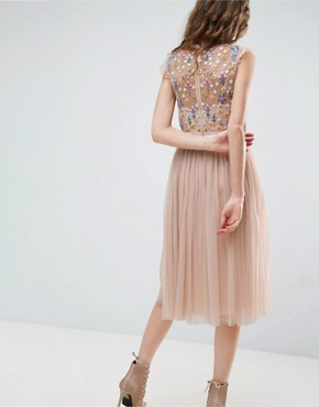 photo Floral Embroidery Midi Skater Dress by Needle & Thread, color Petal Pink - Image 2