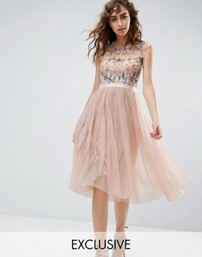 photo Floral Embroidery Midi Skater Dress by Needle & Thread, color Petal Pink - Image 1