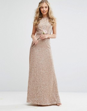 photo Embellished Maxi Dress with Bow Back by Maya, color Mink - Image 2