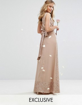photo Embellished Maxi Dress with Bow Back by Maya, color Mink - Image 1