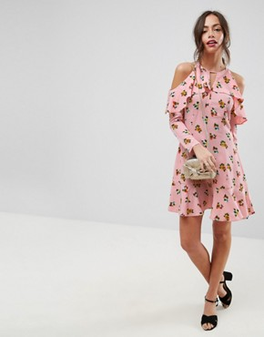 photo Cold Shoulder Ruffle Tea Dress in Ditsy Floral by ASOS, color Multi - Image 1