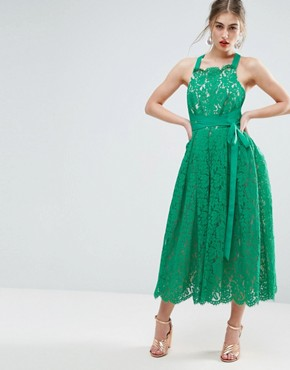 photo Lace Pinny Backless Full Midi Prom Dress by ASOS SALON, color Green - Image 2