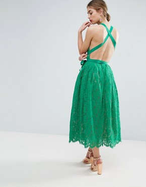 photo Lace Pinny Backless Full Midi Prom Dress by ASOS SALON, color Green - Image 1
