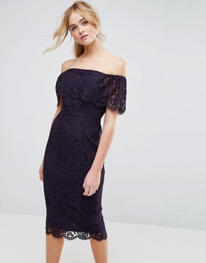 photo Lace Bardot Midi Pencil Dress by ASOS, color Navy - Image 1