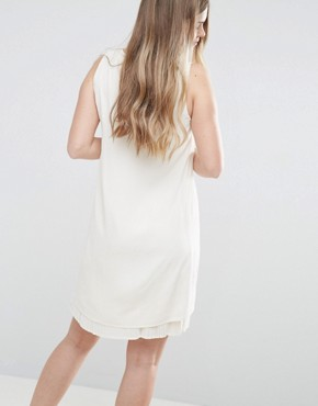photo Shift Dress with Pleated Underlay by Vila, color White - Image 2