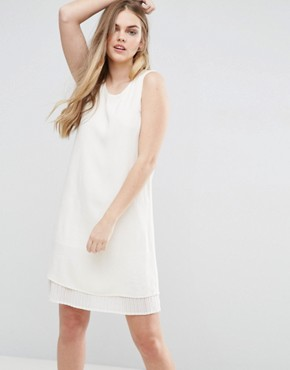 photo Shift Dress with Pleated Underlay by Vila, color White - Image 1