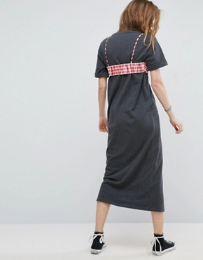 photo Maxi T-Shirt Dress with Bra Top by ASOS, color Charcoal - Image 2