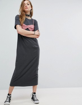 photo Maxi T-Shirt Dress with Bra Top by ASOS, color Charcoal - Image 1