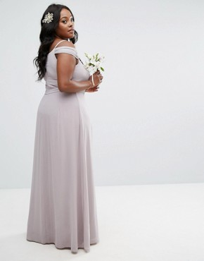 photo Cold Shoulder Embellished Maxi Dress by TFNC Plus WEDDING, color Lavender Fog - Image 2