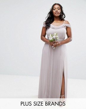 photo Cold Shoulder Embellished Maxi Dress by TFNC Plus WEDDING, color Lavender Fog - Image 1