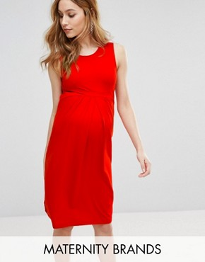 photo Sleeveless Midi Dress by Isabella Oliver, color Red - Image 1