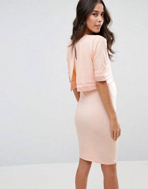 photo Double Layer Dress with Satin Trim by ASOS Maternity NURSING, color Nude - Image 2
