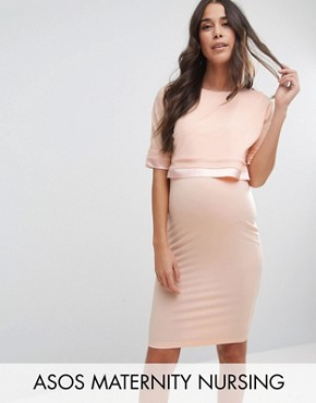 photo Double Layer Dress with Satin Trim by ASOS Maternity NURSING, color Nude - Image 1