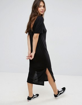 photo Halter Neck Strap Sway Midi Dress by Cheap Monday, color Black - Image 2