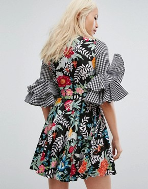 photo Satin Floral and Gingham Flared Sleeve Dress by House of Holland, color Multi - Image 2