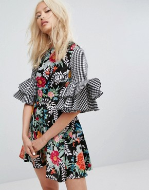 photo Satin Floral and Gingham Flared Sleeve Dress by House of Holland, color Multi - Image 1