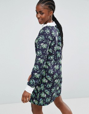 photo Ditsy Floral Stripe Oversized Dress by House of Holland, color Blue Mutli - Image 2