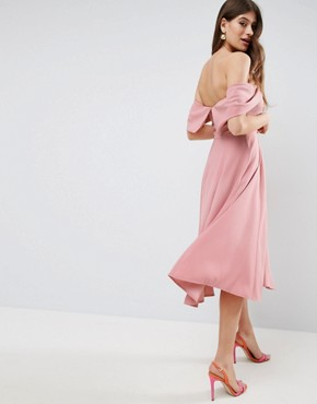 photo Bardot Off Shoulder Midi Prom Dress by ASOS, color Nude - Image 2