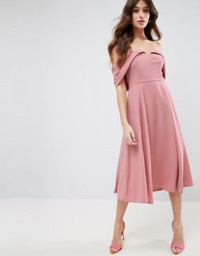 photo Bardot Off Shoulder Midi Prom Dress by ASOS, color Nude - Image 1