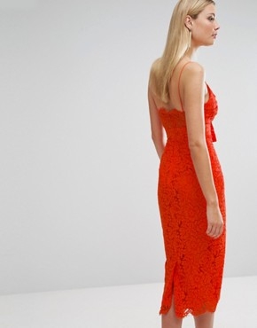 photo Lace Cami Bow Front Midi Pencil Dress by ASOS TALL, color Orange - Image 2