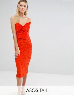 photo Lace Cami Bow Front Midi Pencil Dress by ASOS TALL, color Orange - Image 1